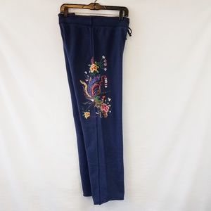 Vintage Lucky Brand Embroidered Sweatpants Large